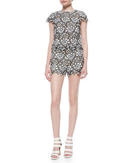 Alice + Olivia Eve Cropped Lace Top & Relaxed Lace Shorts