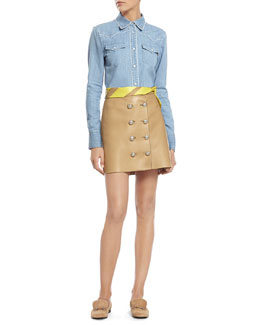Gucci Bleach Washed Denim Skirt & Camel Leather Skirt