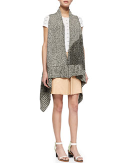 Alice + Olivia Nessa Mixed-Pattern Long Vest, Robin Embroidered Short-Sleeve Top & Russo Inverted-Pleat Leather Skirt