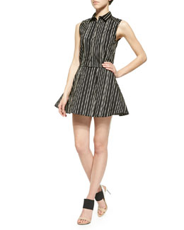 Alice + Olivia Lea Striped Fitted Sleeveless Blouse & Libby Striped A-Line Skirt