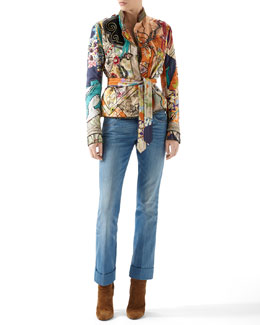 Gucci Patchwork Print Silk Habotai Deconstructed Jacket & Washed Denim Skinny Flare Pants