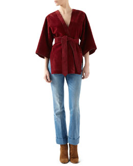 Gucci Suede Belted Wrap Jacket & Washed Denim Skinny Flare Pant