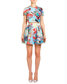 Mary Katrantzou Abalone Sky Lynx Printed Top & Pleated Skirt