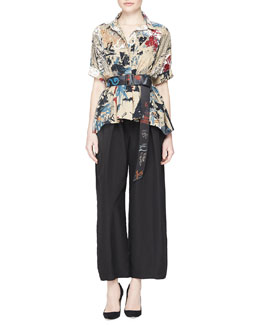 Donna Karan Short-Sleeve Street Art-Print Camp Top, Cropped Pleated Canvas Pants & Hand-Painted Leather Belt