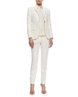 Burberry London One-Button Fitted Silk Blazer, Short-Sleeve Lace Button Blouse & Slim Tailored Silk Trouser,