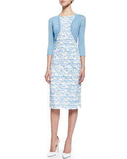 Oscar de la Renta Three-Quarter-Sleeve Knit Bolero & Abstract Fish Printed Pencil Dress, Wedgewood