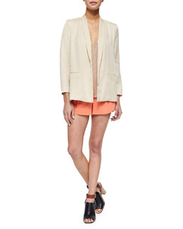 Alice + Olivia Tori Loose Boxy Blazer, Lola Sequined Loose Racerback Tank & Butterfly Pleated Rounded Crepe Shorts