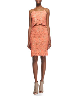 Alice + Olivia Alanis Floral-Crochet Crop Top & Farrel Pencil Skirt