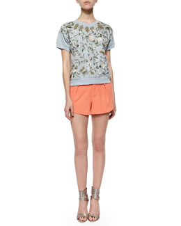 Alice + Olivia Gloria Embroidered Short-Sleeve Sweatshirt & Butterfly Pleated Rounded Crepe Shorts