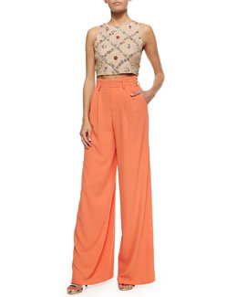Alice + Olivia Kesten Beaded-Applique Crop Top & Pleated Wide-Leg Trousers