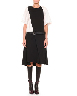 Jil Sander Short-Sleeve Asymmetric Flap Dress, Napa Leather Knee-High Socks & Pebbled Leather Belt