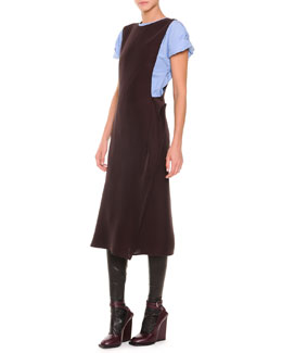 Jil Sander Cap-Sleeve Poplin Blouse, Side-Fold Fluid Cady Dress & Napa Leather Knee-High Socks