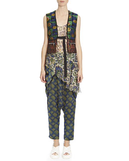 Dries van Noten Mixed Jacquard D-Ring Vest, Shimmer Ikat-Print Asymmetric Camisole & Jacquard Crossover Harem Pants