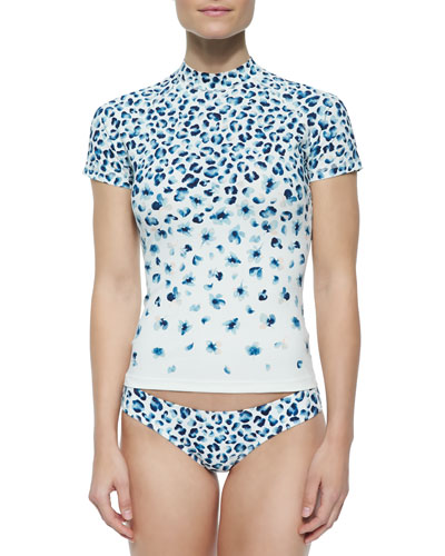 Sierra Printed Mock-Neck Rashguard, Swim Top & Bottom