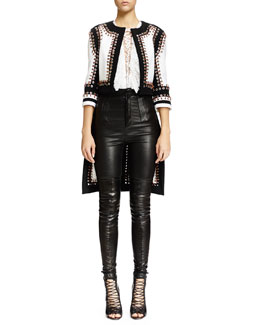 Givenchy Nette Grommet Stitched Textured Jacket, Lace-Up Ruffled Bib Lace Top & High-Waist Skinny Leather Trouser