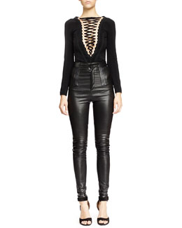 Givenchy V-Seamed Lace-Up Bodysuit & High-Waist Skinny Leather Trouser, Black