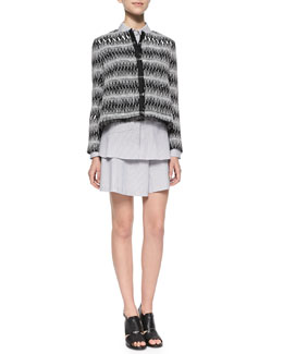 Thakoon Addition Patterned Boxy Tweed Jacket, Button-Back Striped Blouse & Striped Wide-Leg Drawstring Shorts