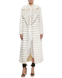 Adam Lippes Fringe Tassel-Embroidered Coat, Sheer Chiffon Button Blouse, Crinkled Lace Bralette & Drop-Rise Textured Fez Pants