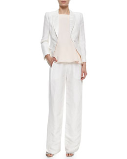Adam Lippes Peaked-Lapel Cropped Blazer, Square-Neck Flutter Camisole & Side-Pleated Wide-Leg Trousers