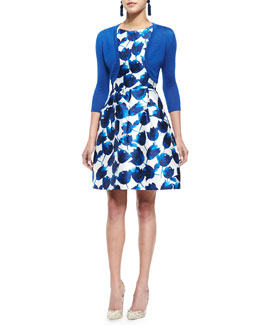 Oscar de la Renta Three-Quarter-Sleeve Knit Bolero & Tulip-Print Dress with Pockets