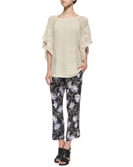 Thakoon Addition Wide-Knit Flutter-Sleeve Top & Floral-Print Cropped Silk Pants