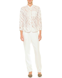 Giorgio Armani Semisheer Fil Coupe Blouse & Pleated Gabardine Tapered Pants