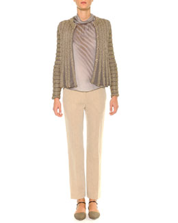 Giorgio Armani Swing-Bottom Ribbed Cardigan, Mock-Neck Diagonal Striped Blouse & Linen-Blend Lightweight Ankle Pants