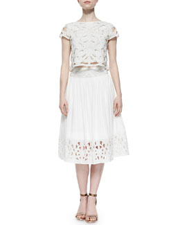 Alice + Olivia Abbi Embellished Crop Top & Joanna Midi Skirt