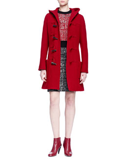 Lanvin Hooded Toggle-Front Coat & Short-Sleeve Colorblock Tweed Dress
