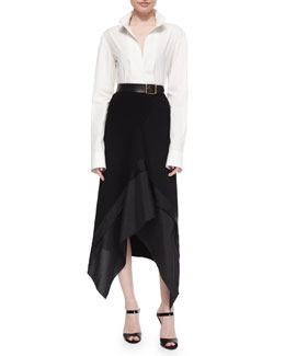 Slit-Front Tailored Blouse, Stretch Crepe Trimmed Asymmetric Skirt & Faceted Buckle Artisan Belt