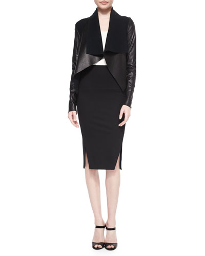 Leather-Bonded Draped Jacket & Double-Slit Structured Jersey Pencil Skirt
