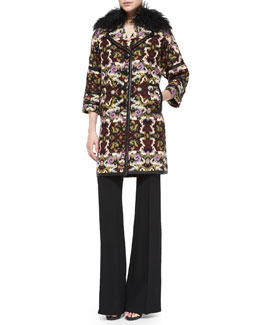 Andrew Gn Fur-Collar Tapestry Caban Coat & Wool High Waist Wide-Leg Pants