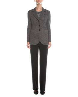 Giorgio Armani Waffle-Woven Toggle-Button Jacket, Scoop-Neck Marble-Print Top & Boot-Cut Double-Faced Pants