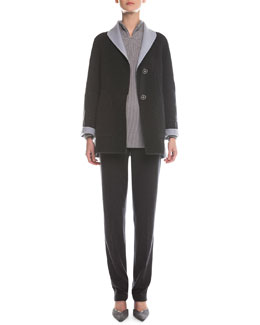 Giorgio Armani Two-Tone Double-Faced Swing Topper, Split-Neck Ribbed Sweater & Herringbone-Knit Slim-Fit Pants