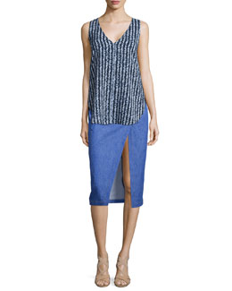 Derek Lam 10 Crosby Striped Silk V-Neck Shell & Saddle-Stud Slit Pencil Skirt