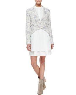 Derek Lam 10 Crosby Cropped Angled-Front Jacket & Sleeveless Band-Detail Shirtdress