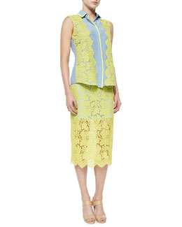 Preen by Thornton Bregazzi Silk/Lace Sleeveless Shirt & Floral Scalloped Lace Pencil Skirt