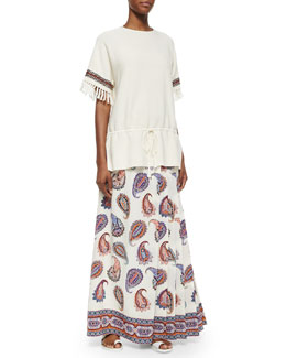 Tory Burch Sweater Tunic W/ Fringe Cuffs & Dapper Paisley-Print Maxi Skirt