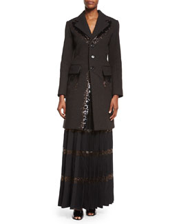 Marc Jacobs Bead-Embroidered Two-Pocket Coat & Long Pleated Skirt w/ Crystal Tulle Insets