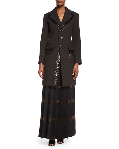 Bead-Embroidered Two-Pocket Coat & Long Pleated Skirt w/ Crystal Tulle Insets