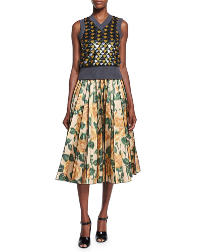 Sleeveless Geometric Sequin Paneled Sweater & Floral Ikat Pleated Midi Skirt
