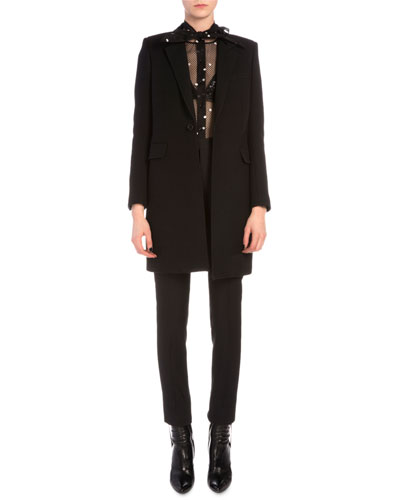 Velvet-Trimmed Collar One-Button Coat, Sheer Pindot Tulle Overblouse & Tuxedo-Stripe Skinny Pants