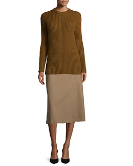 Cerlita Double-Face Wool/Cashmere Coat, Diantha Caresse Turtleneck Sweater & Anneal Stretch-Wool Wrap Skirt