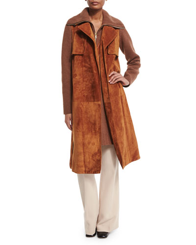 Belted Suede Combo Trenchcoat, Suede V-Inset Knit Vest & Shetland Flare-Leg Trousers