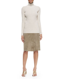 Tory Burch Ribbed Turtleneck Sweater & Portabello Faux-Wrap Suede Skirt
