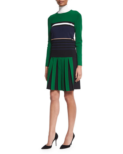 Long-Sleeve Striped Knit Sweater, Turtleneck Knit Dickey & Contrast Front-Pleated A-Line Skirt