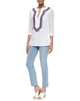 Tory Burch 3/4-Sleeve Embroidered Cotton Tunic & Cropped Straight-Leg Jeans