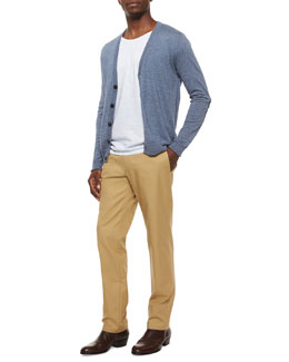 Cotton-Wool Cardigan with Elbow Patches, Short-Sleeve Knit Crewneck Tee & Twill Straight-Leg Chino Pants