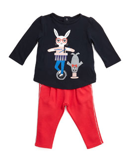 Little Marc Jacobs Circus Animal Jersey Tee & Metallic-Trim Knit Leggings