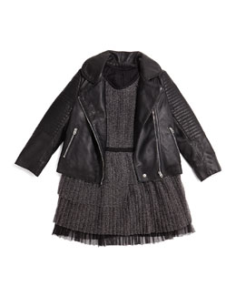 Little Marc Jacobs Leather Motorcycle Jacket & Pleated Tulle Party Dress